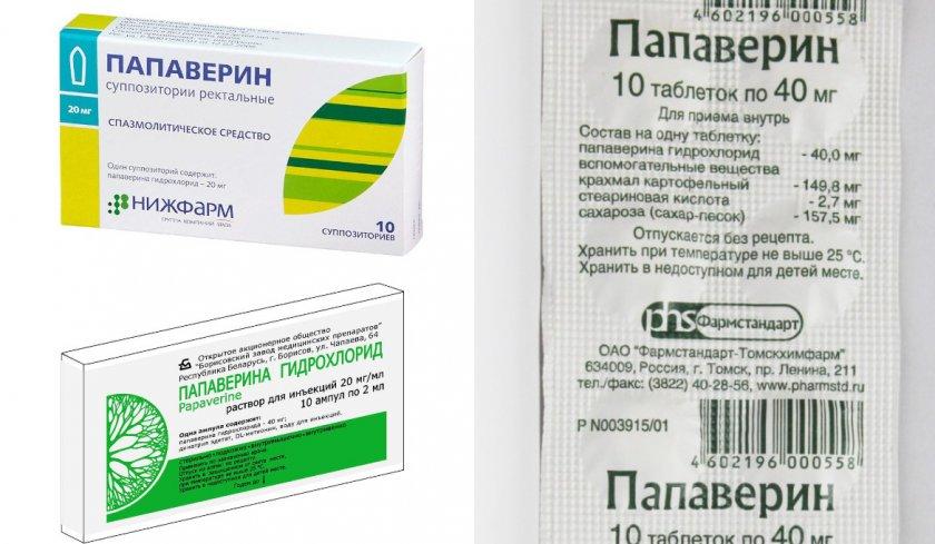 Формы выпуска препарата Папаверин