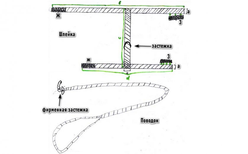 Схема шлейки и поводка